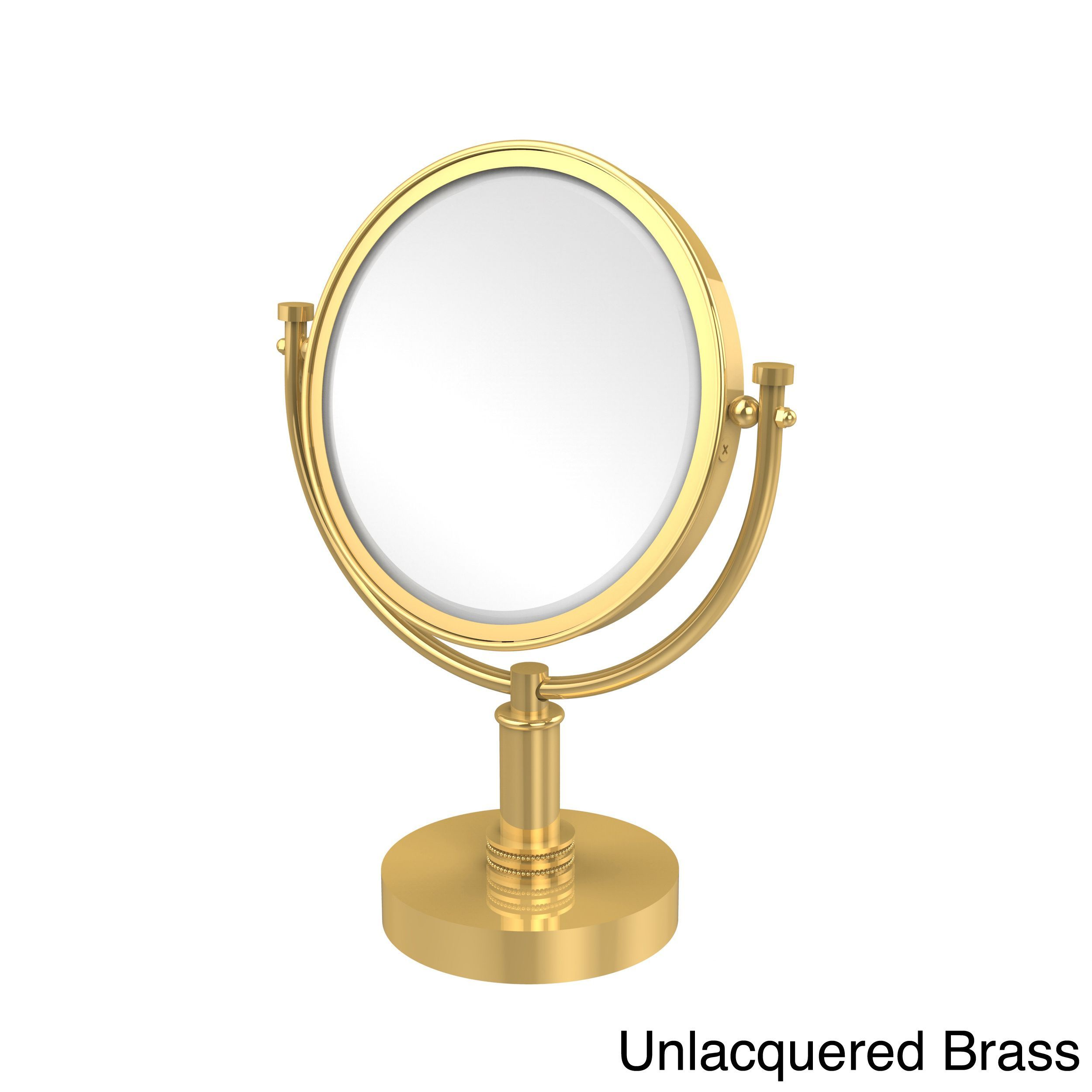 Allied Brass 8-inch 4x Magnification Vanity Top Make-up Mirror (Unlacquered Brass), Clear