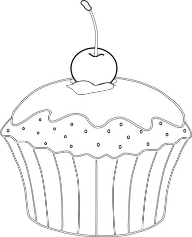 Muffin Mit Kirsche Ausmalbild Ausmalbilder Lebensmittel Super