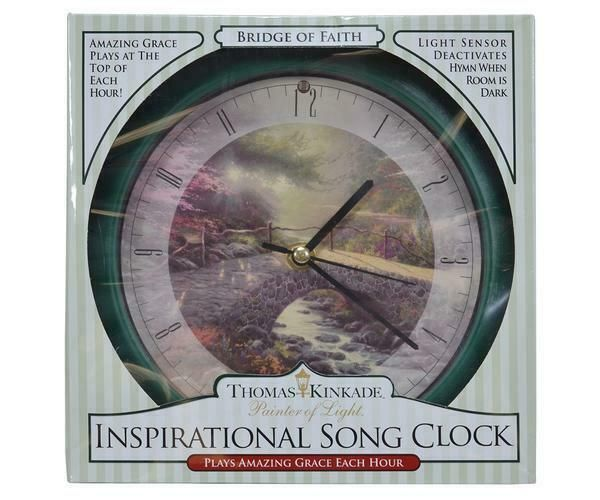 Clocks Bridge Of Faith Kinkade 8 Inch Clock Sound Amazing Grace Each Hour In 2020 Clock Clock Sound Wall Clock