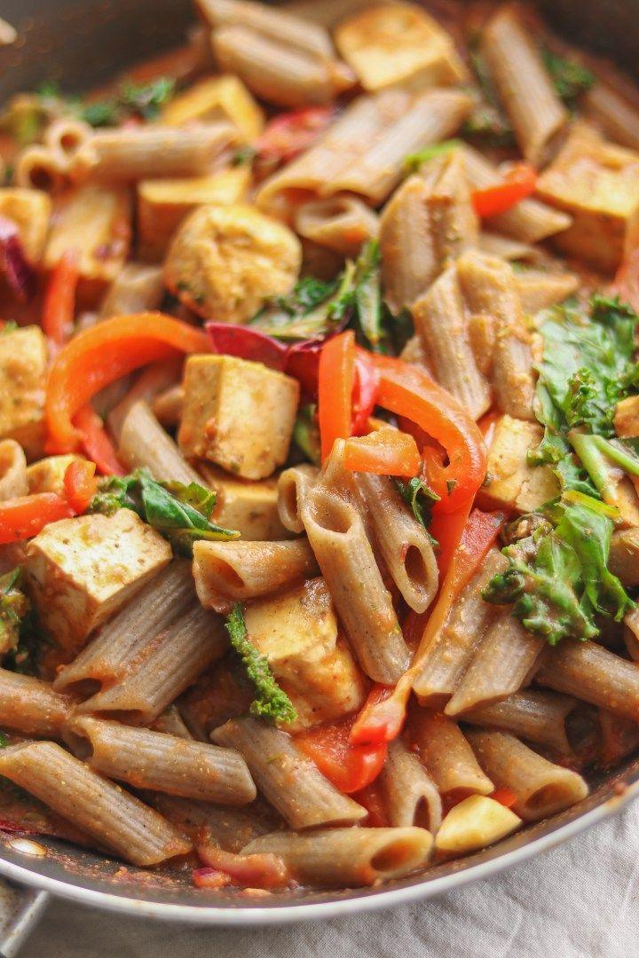 Creamy tomato pasta with tofu vegan glutenfree option