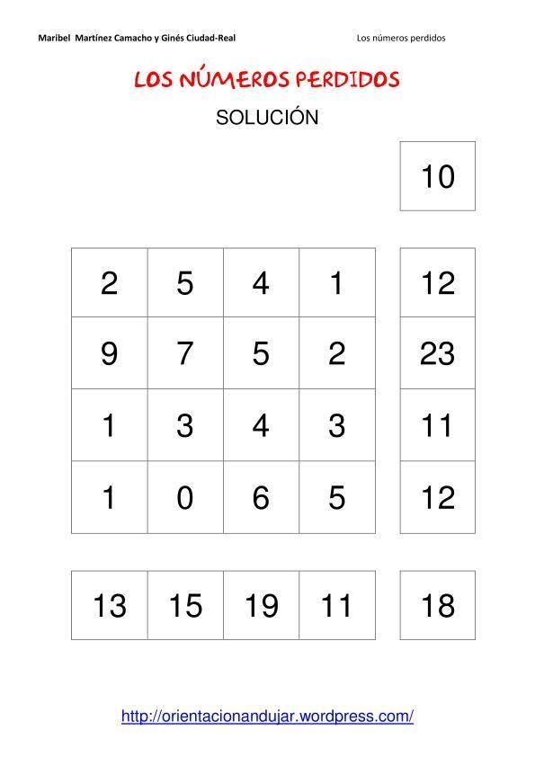 Los números perdidos - razonamiento logico