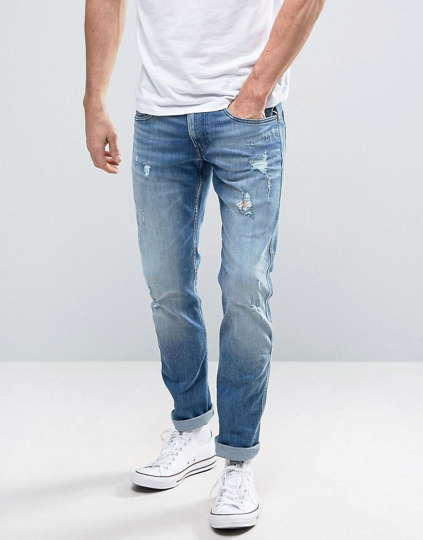 1abb5cf7f1 Replay Anbass Slim Fit Jeans Ripped Light Wash - Blue
