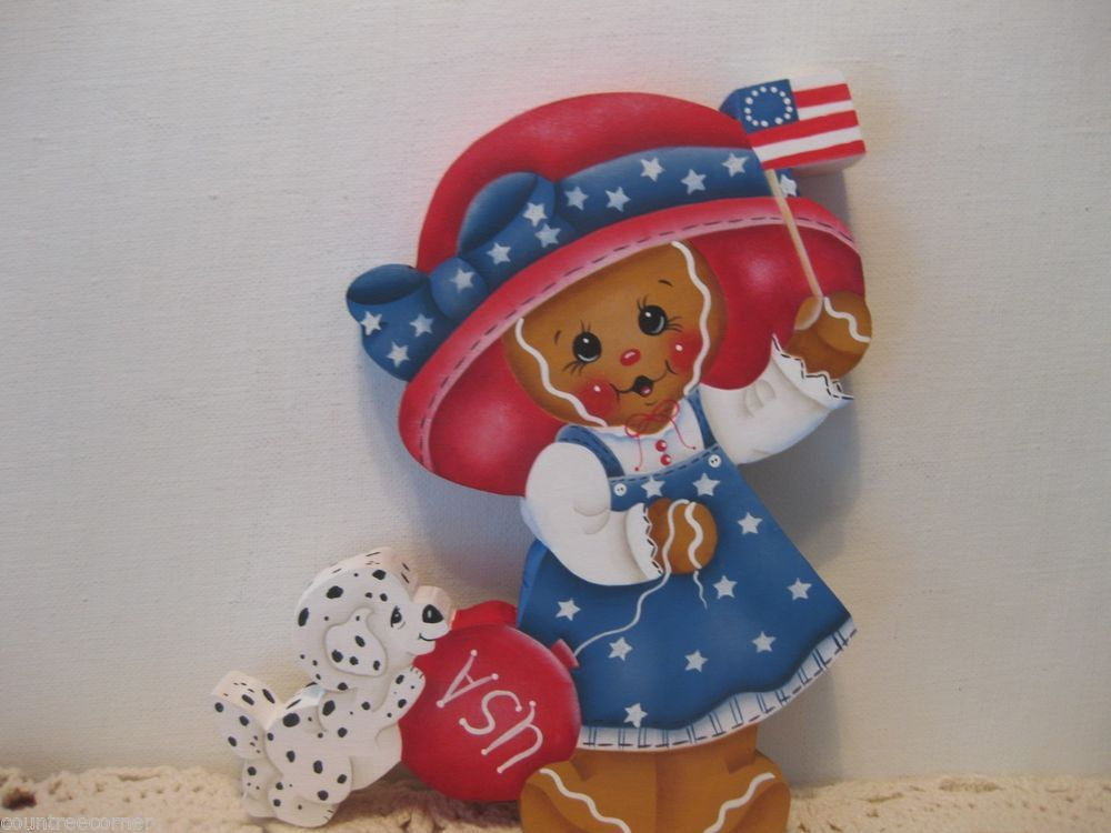 HP Gingerbread 4th of July girl with puppy Shelf Sitter hand painted