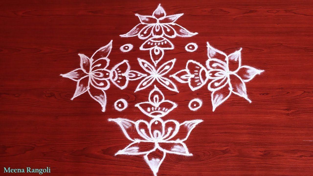 Deepam rangoli with Lotus flowers | 9*3*3 dots rangoli designs | Diwali ... #rangolidesignsdiwali Deepam rangoli with Lotus flowers | 9*3*3 dots rangoli designs | Diwali ... #rangolidesignsdiwali