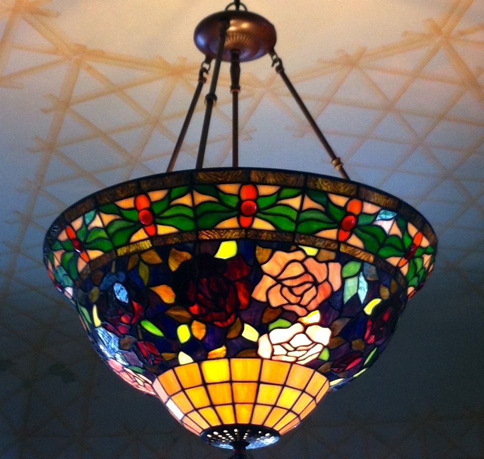 Handmade tiffany stained glass hanging lamp