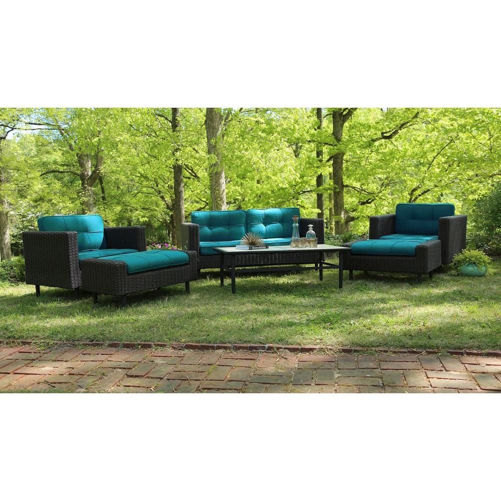 Ae Outdoor Wright 6 Piece All Weather Wicker Patio Deep Seating Set