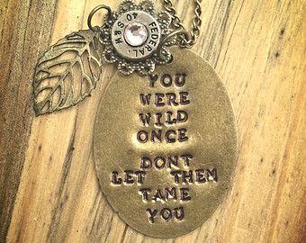 "Isadora Duncan inspired Handstamped Bullet Necklace. ""You Were Wild Once..."" (40 S&W)"