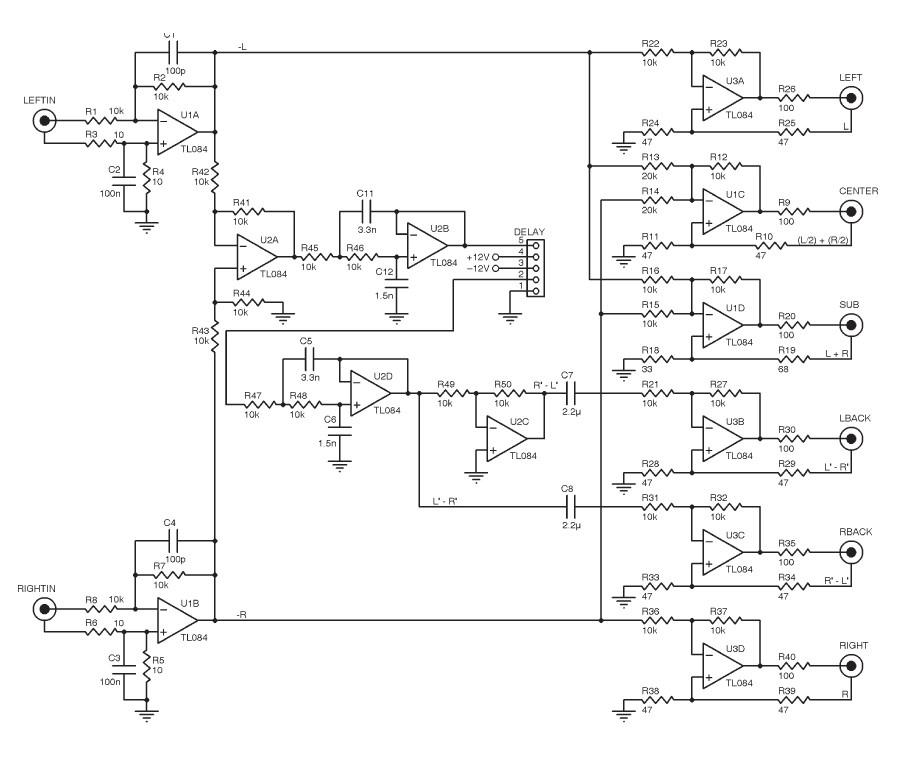 Build A Passive Surround Sound Decoder Surround Sound Surround Audio Circuit Diagram