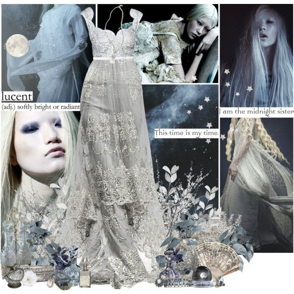 The Midnight Sister by mlleemilee on Polyvore featuring Club Monaco, Black Diamond, Shabby Chic, Luna, Guide London, Identity, moon, mythology, neilgaiman and zorya