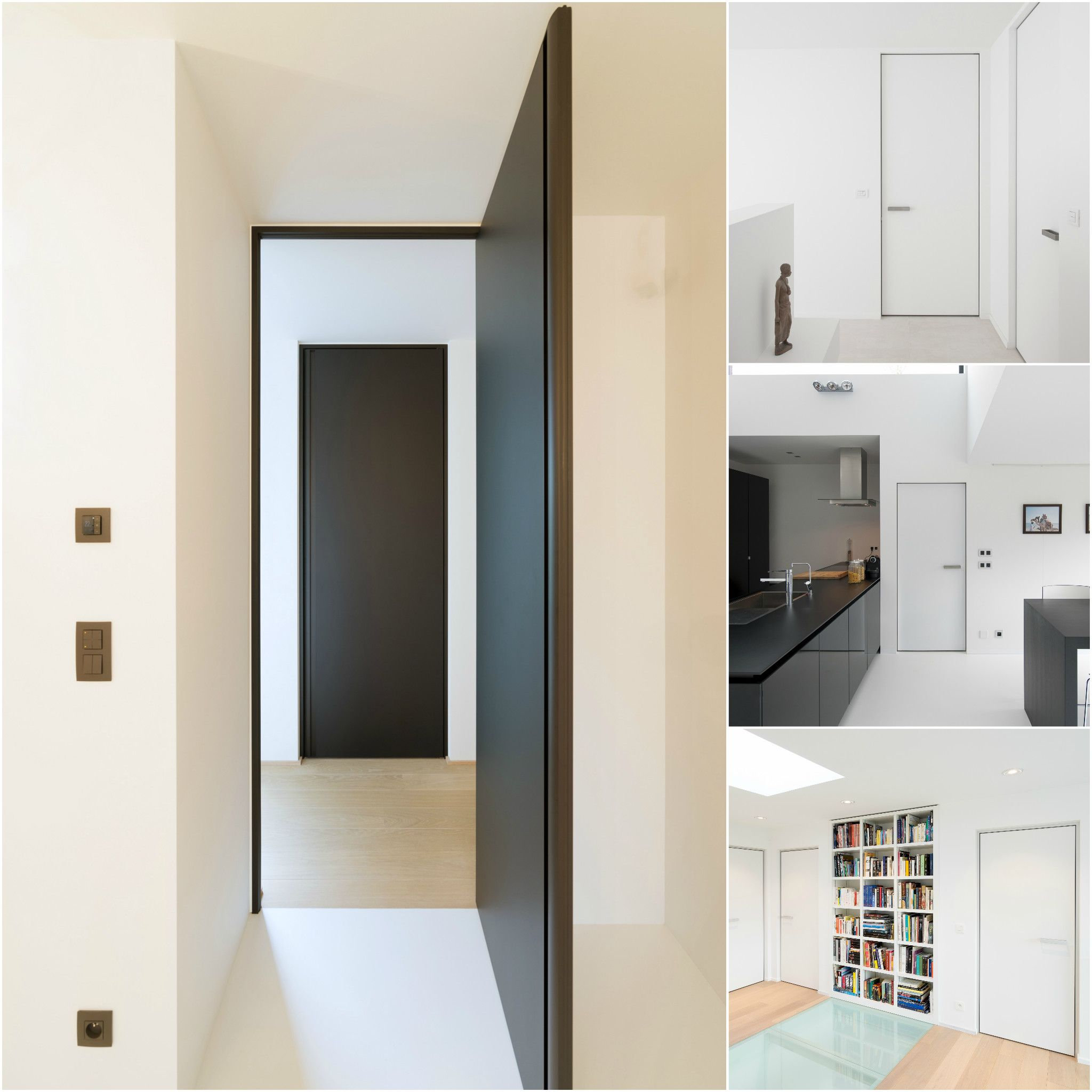 Modern interior doors with modular hinges and adjustable