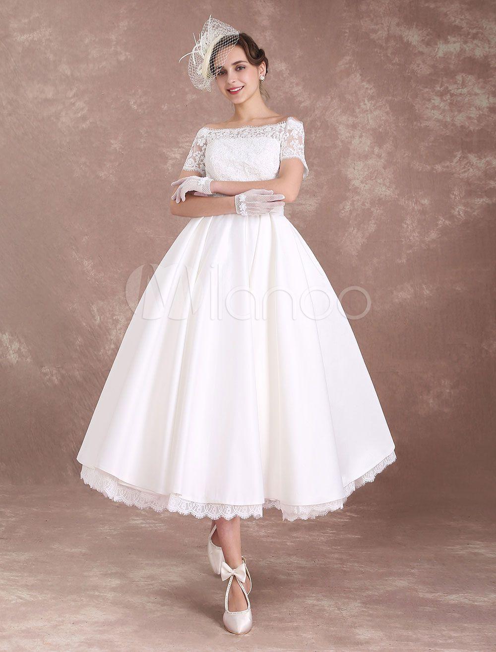 Vintage Brautkleid A-Linie- wadenlang Knöpfe mit eingebautem BH in