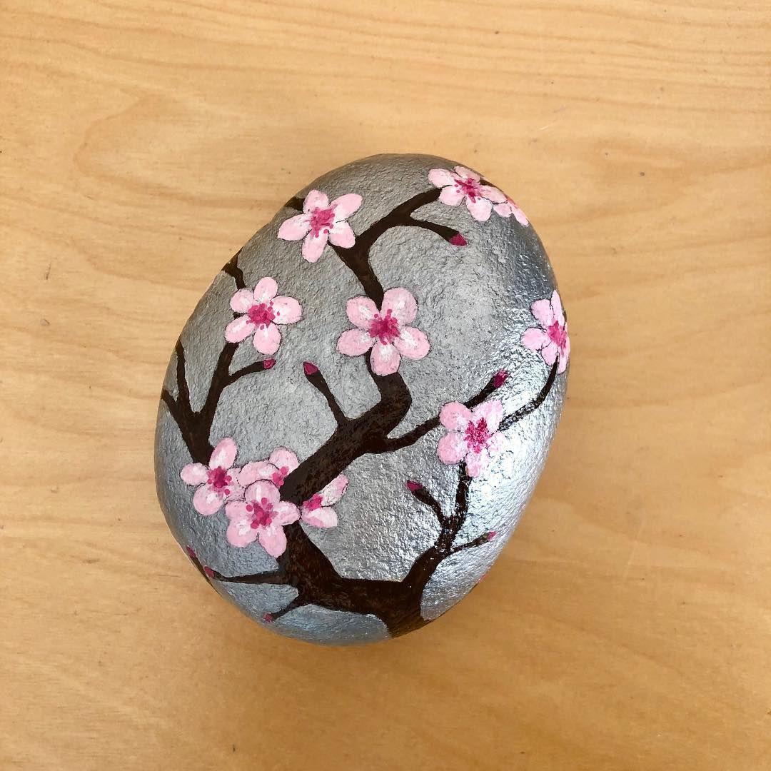 Karen Allen On Instagram Cherry Blossoms Tree Stoneartist Rockpainting Artstones Rockartist Paintedstonesofin Rock Crafts Rock Painting Art Diy Rock Art