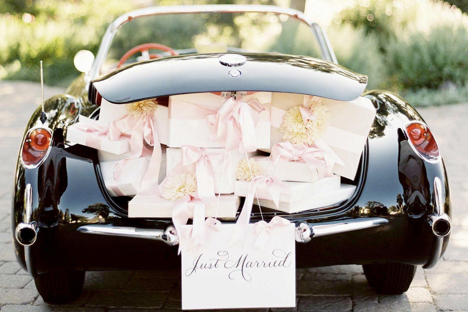 Wedding car decorations just married  Pin by Delaney Smith on wedding  Pinterest  Wedding getaway car