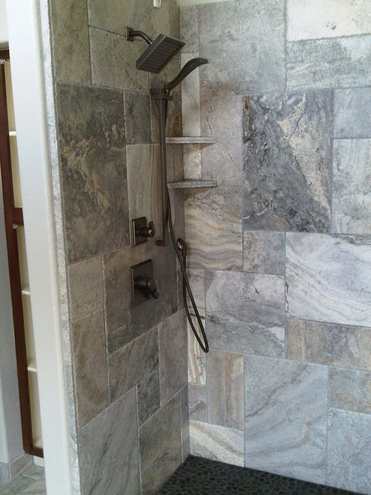 Silver Travertine In The Shower