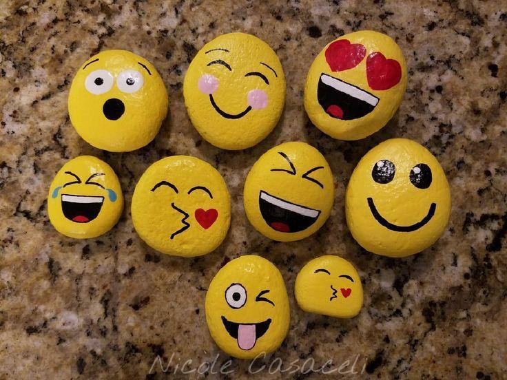 Emoji Rocks 52rocks Paintedrocks Kindnessrocks Rock Painting Ideas Easy Painted Rocks Kids Rock Crafts
