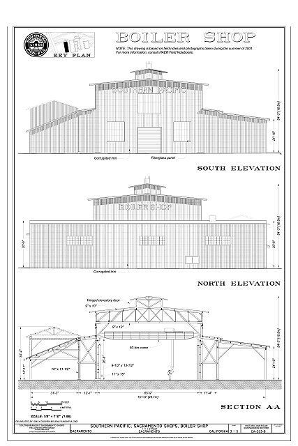 Boiler Shop south Elevation, North Elevation, Section AA