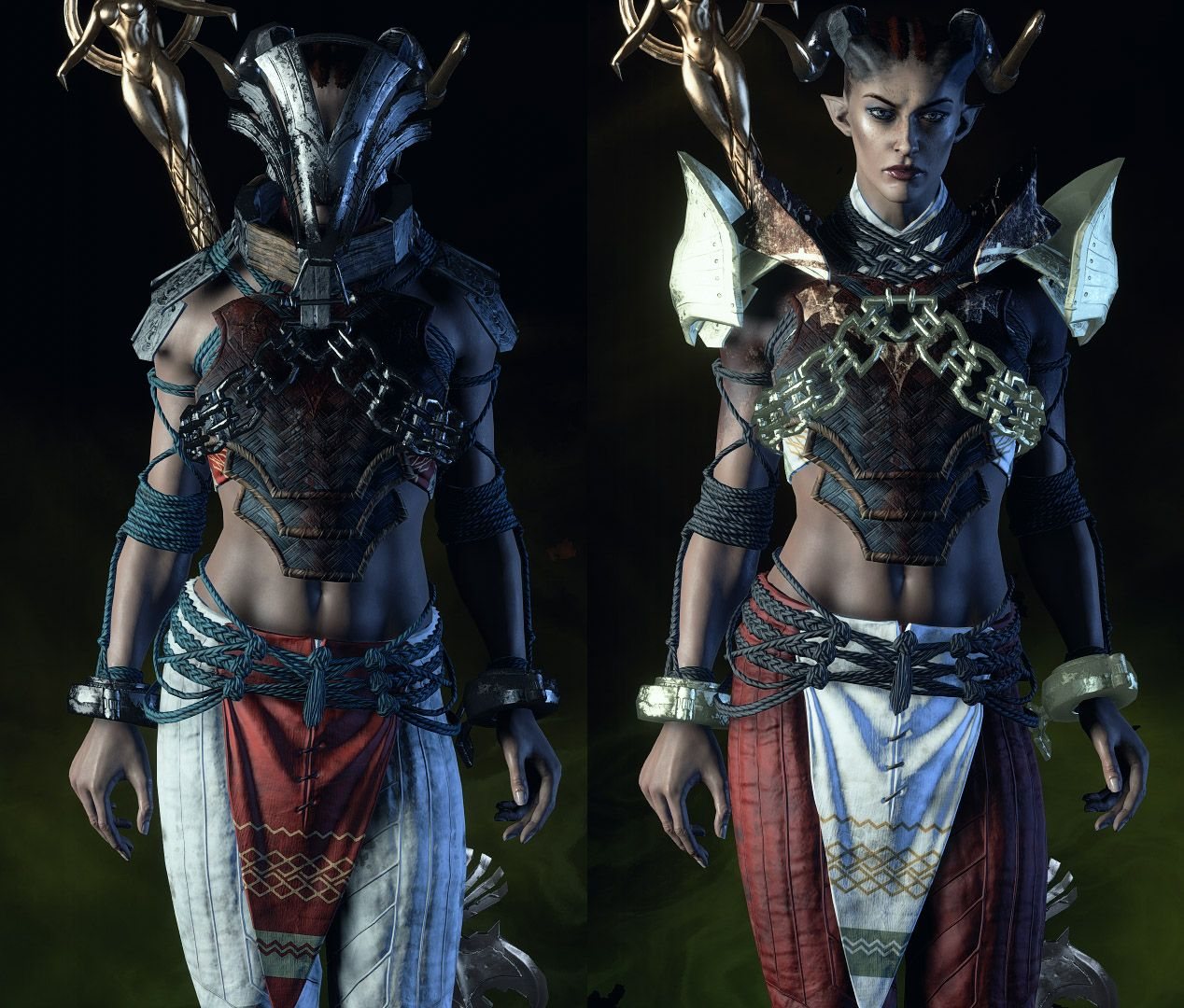Although This Is An Image Of A Qunari Saarebas From Dragon Age The Helmet On The Left Is Almost Exactly Wh Dragon Age Qunari Dragon Age Dragon Age Inquisition The qunari get special helmets (face paint) which increase their attack rather than their defense. qunari saarebas from dragon age