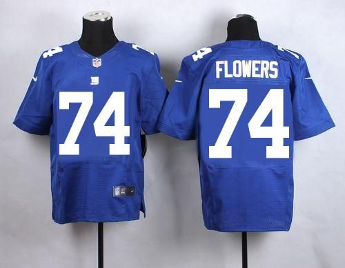 nike giants 74 ereck flowers royal blue team color mens stitched nfl elite jersey