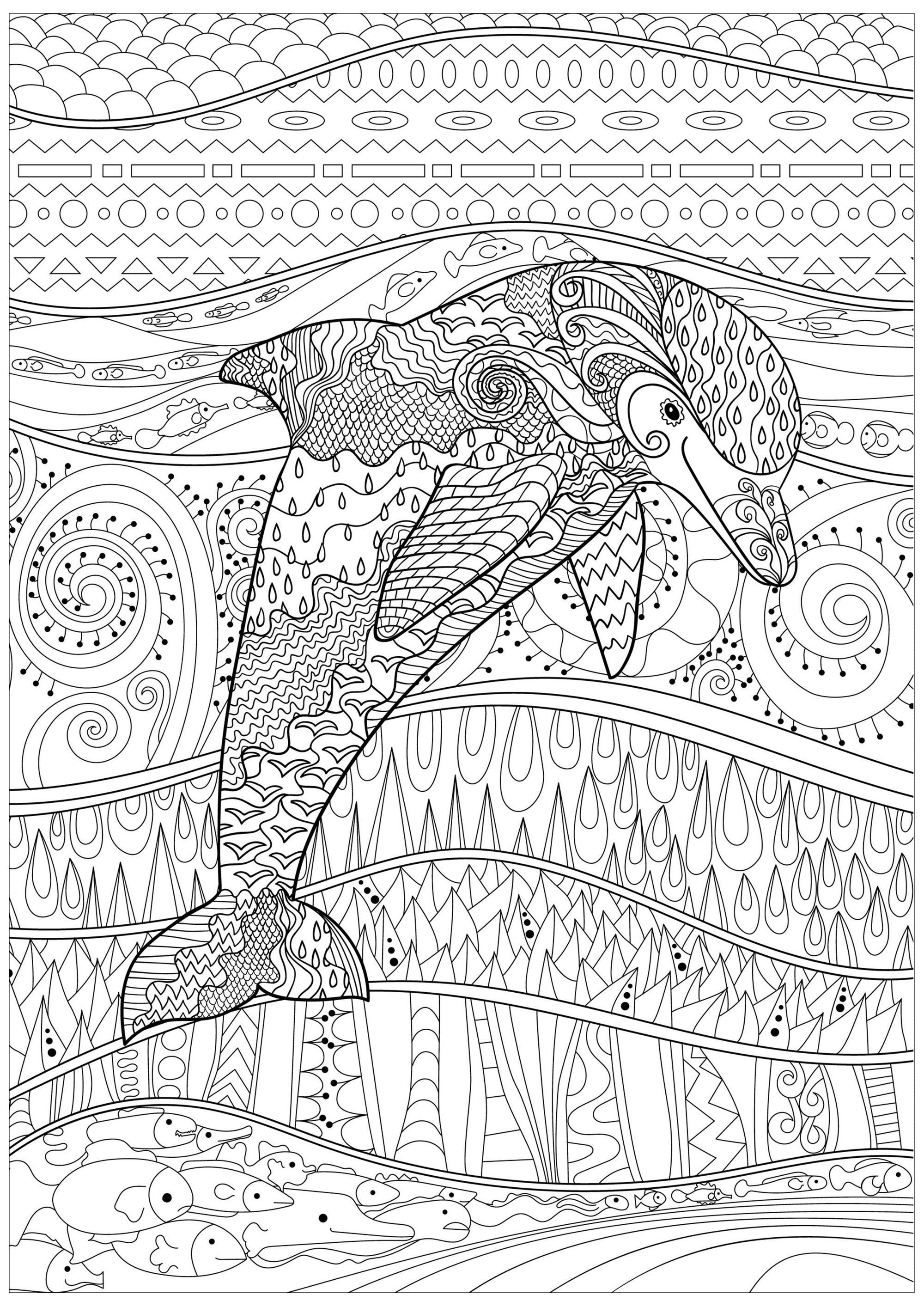 Dolphin In A Calm Sea With Fishes And Lovely Abstract And Complex Patterns Inside And Outside His Dolphin Coloring Pages Coloring Pages Horse Coloring Pages