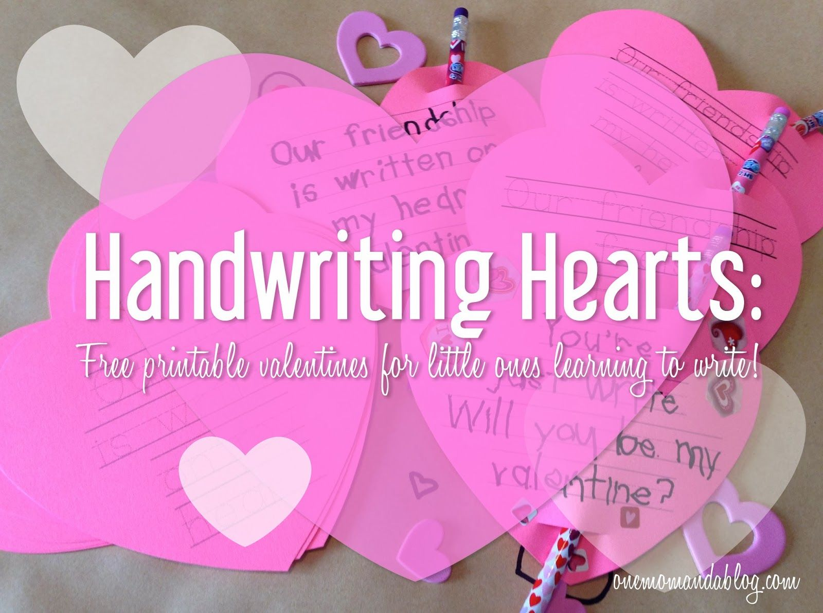 Handwriting Hearts Printable Valentines