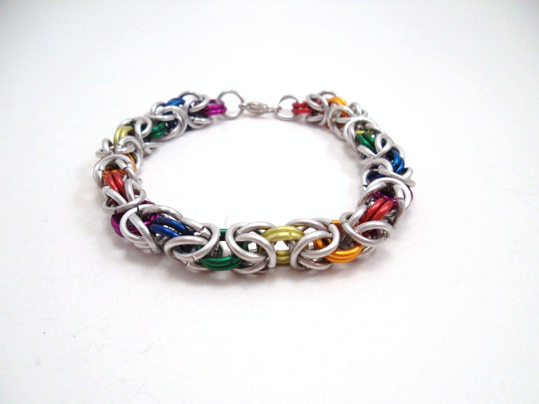 Chainmail bracelet rainbow byzantine by serenityinchains on etsy