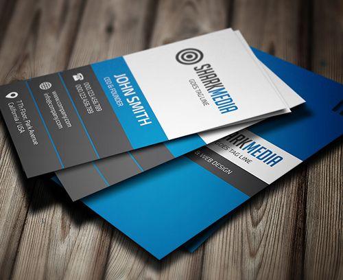 blue business card