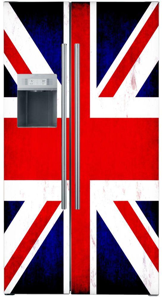 Union Jack Flag Fridge Wrap Refrigerator Stickers Decal