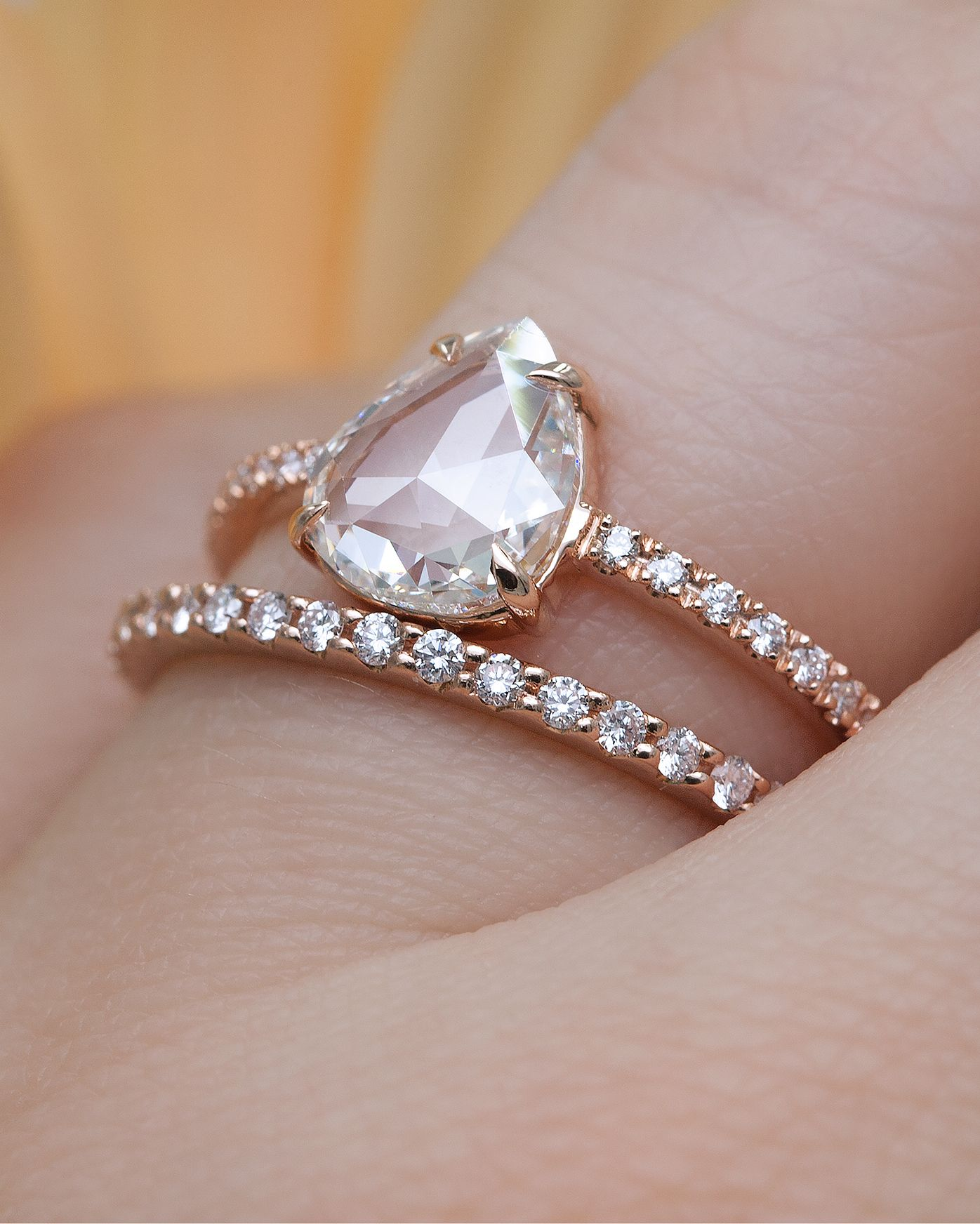 1 Carat Rose Cut Pear Diamond Ring in Rose Gold by Everett