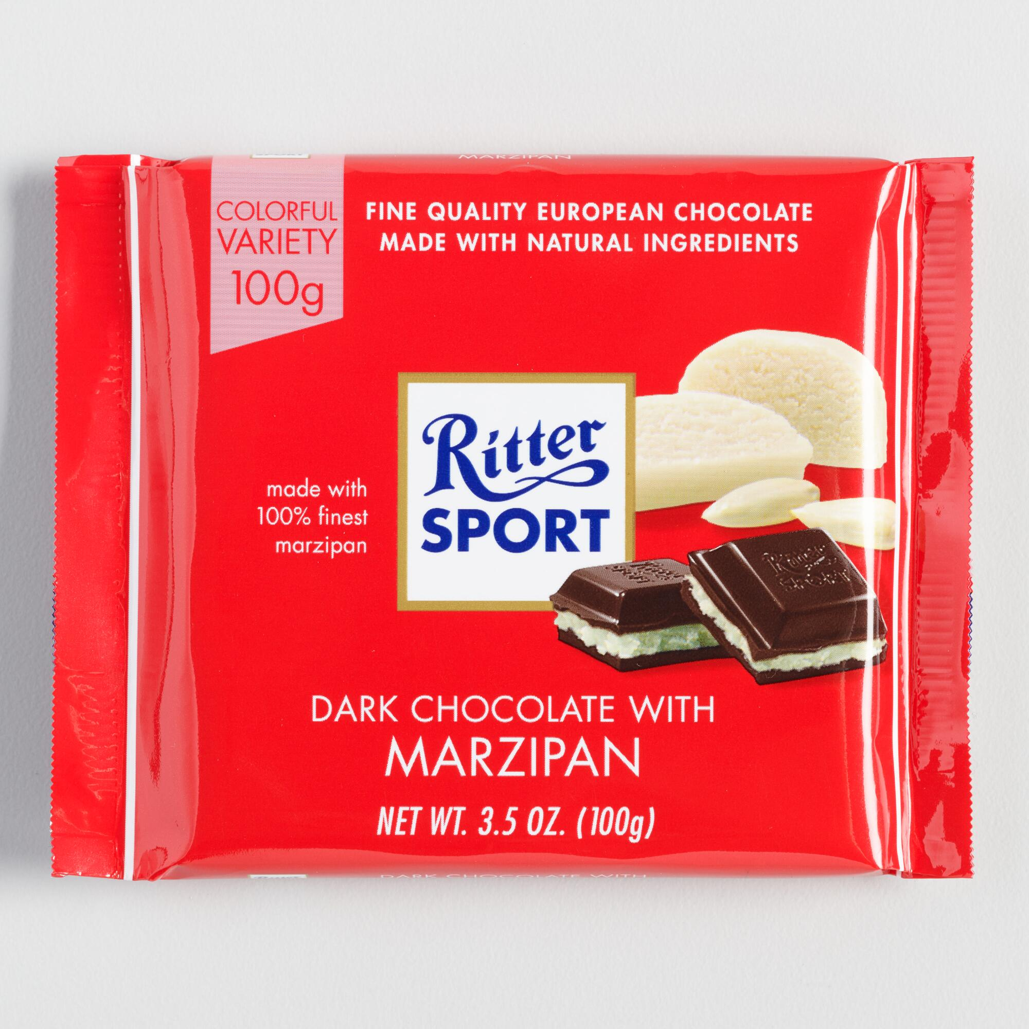 Ritter Sport Dark Chocolate with Marzipan, Set of 12 by