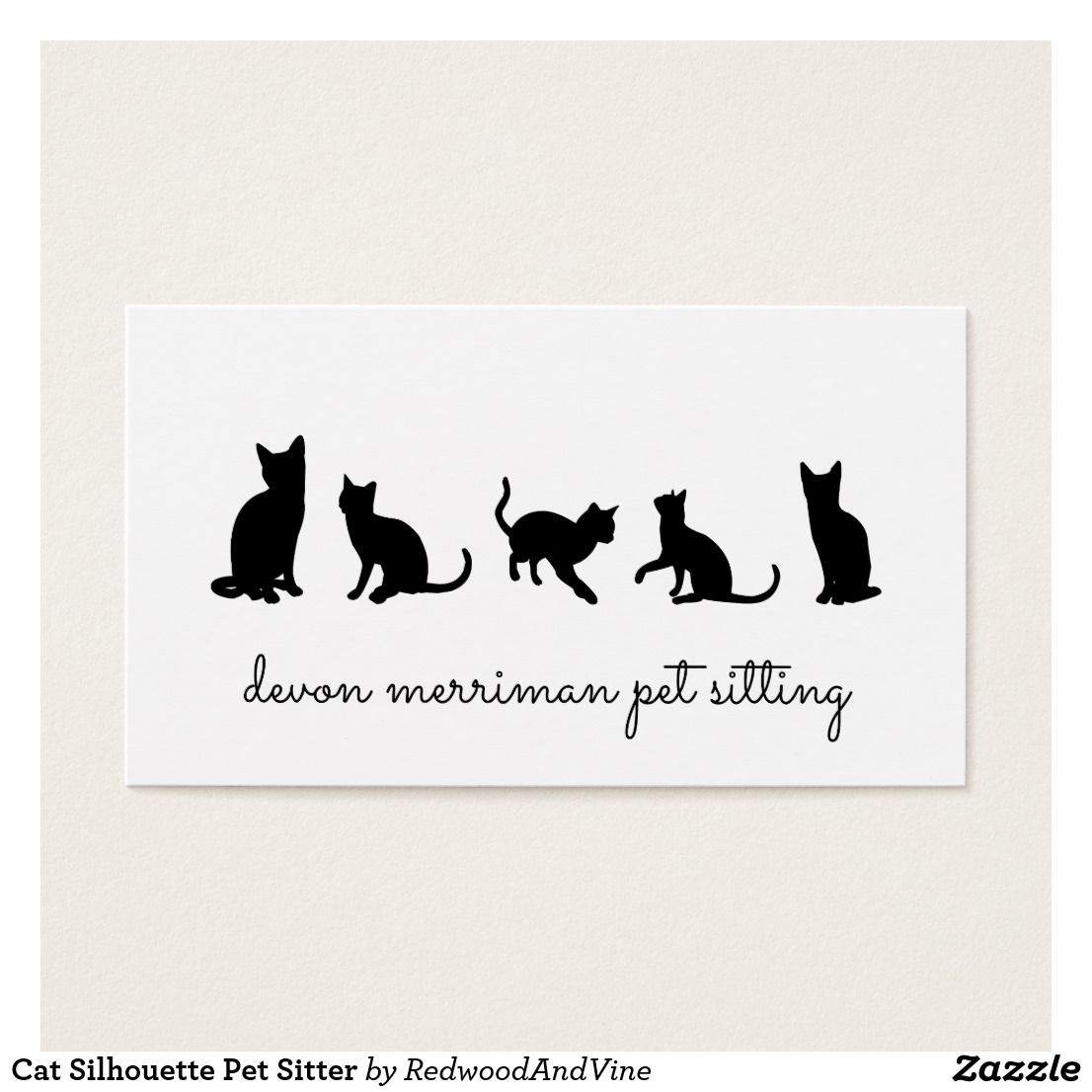 Cat Silhouette Pet Sitter Business Card | Cat silhouette and ...