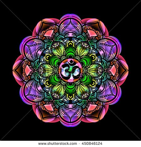 Mandala circle decorative spiritual indian symbol with om sign of mandala circle decorative spiritual indian symbol with om sign of lotus flower to multi color psychedelic colors and black background mightylinksfo