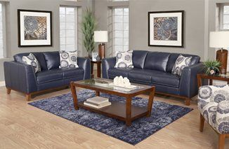 Oasis 5 Piece Navy Leather Living Room With Images Leather