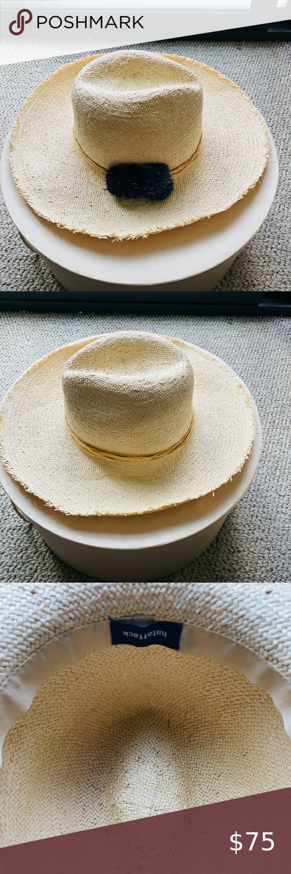 Hat Attack Cuppajyo Fringe Raffia Pom Hat Pom Pom Hat Pom Pom Blue Pom Poms