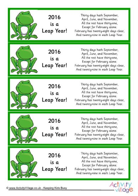 2016 Leap Year Calendar Rhyme Bookmarks Click Through To The Website For Printable