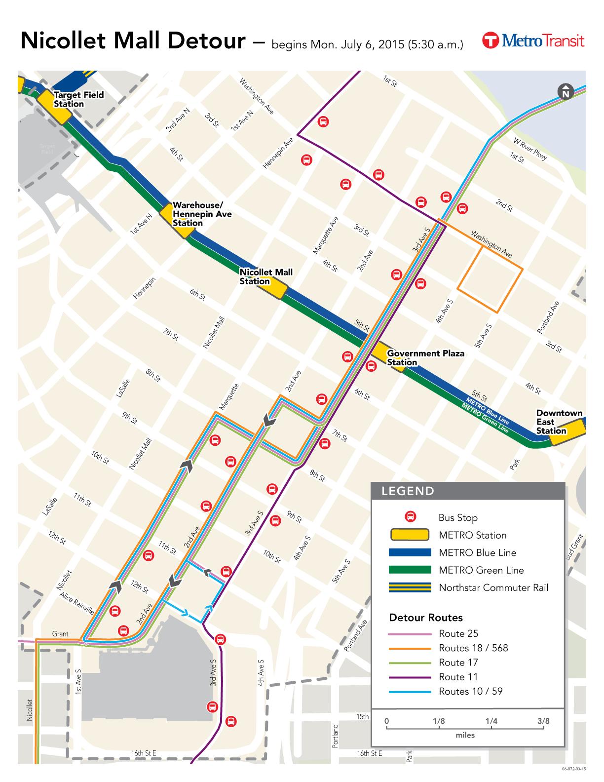 Map Of Metro Transit Bus Detours During Nicollet Mall Construction