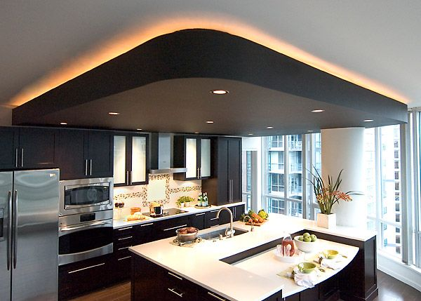 Cool 33 Kitchen With Drop Ceiling On Recessed Pot Lights And Framed By Rope Lighting