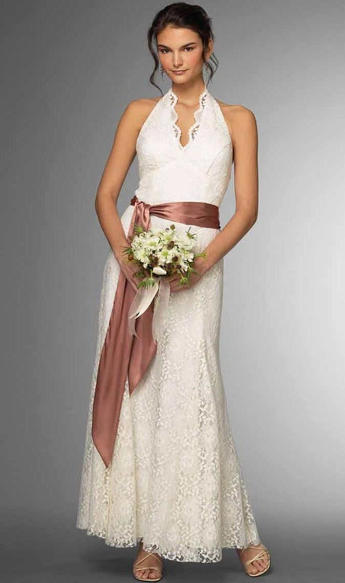 Wedding dresses for 2nd marriages with pale green sash though ...