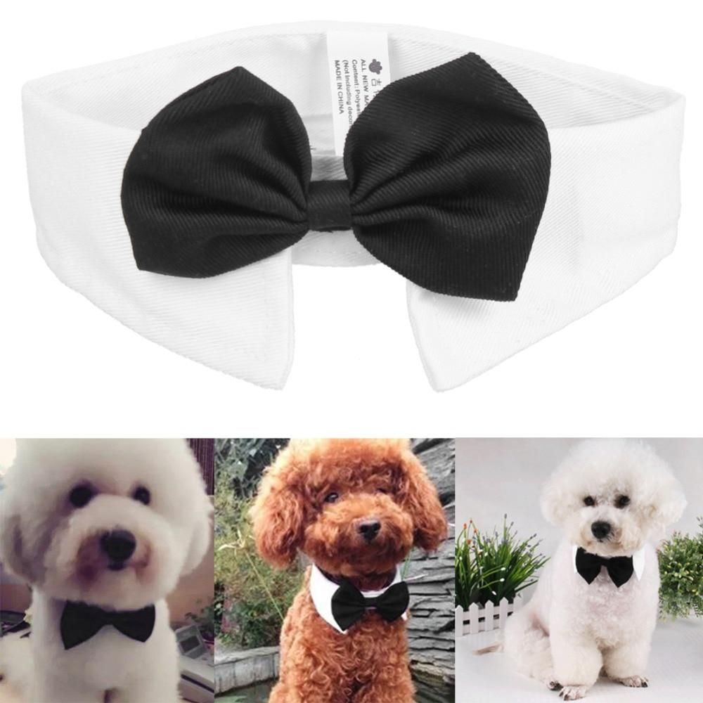 Solid Color Dog Bow Tie Pet Collar Adjustable Bowties Puppy Grooming Accessories