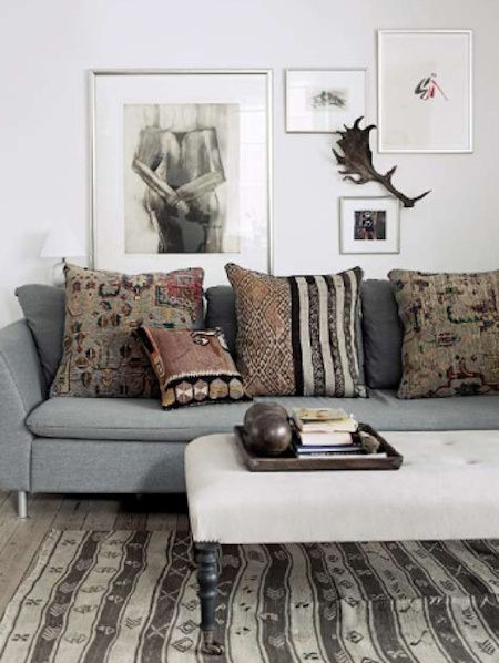 Kilim Pillows On A Blue Gray Couch Decor Detail
