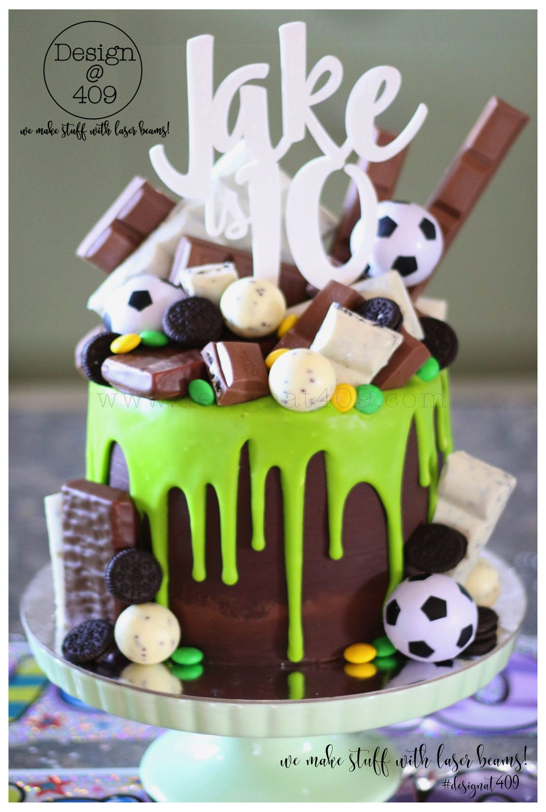 Chocolate Green Drip Soccer Themed Cake With White Acrylic Jake Is 10 Cake Topper Design 409 Drip Cakes Soccer Birthday Cakes Chocolate Drip Cake
