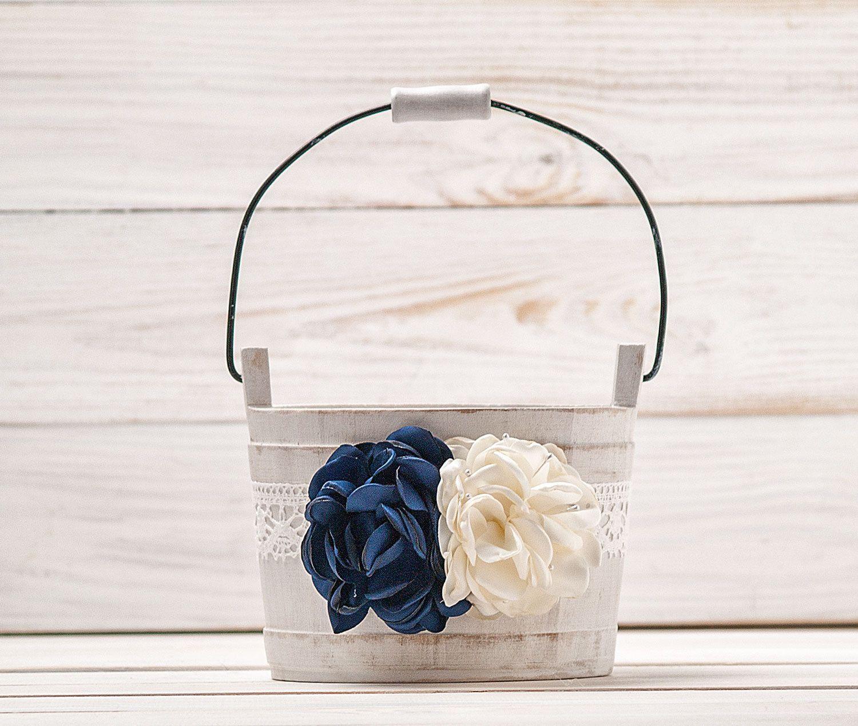 Navy Blue Ivory Flower Girl Basket Wedding Basket Wood Flower Basket
