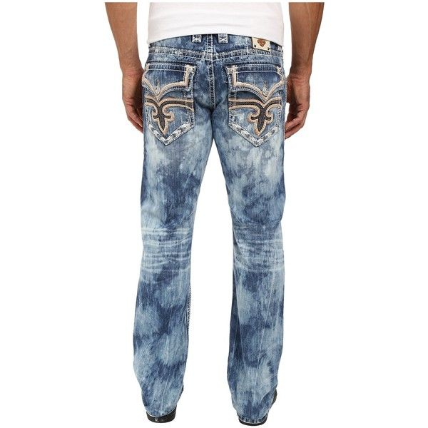 Rock Revival Willis J204 Straight Leg (Dark Blue) Men's Jeans ($169) ❤ liked on Polyvore featuring men's fashion, men's clothing, men's jeans, mens low rise jeans, mens flap pocket jeans, mens dark blue jeans, mens straight leg jeans and mens low rise bootcut jeans