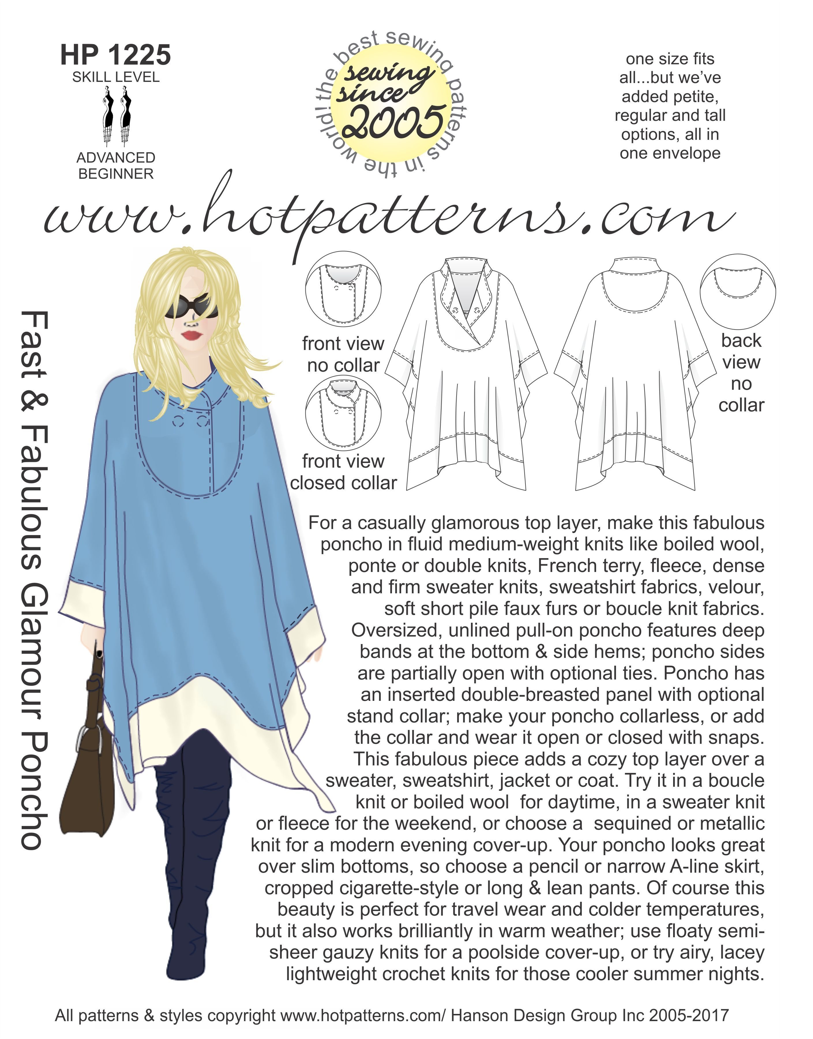 HP 1225 Fast & Fabulous Glamour Poncho | DIY {CLOTHES} | Pinterest ...