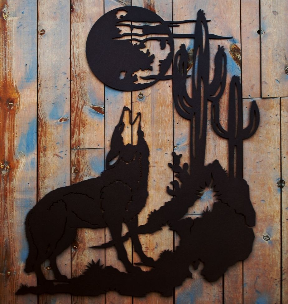 Rustic Metal Wall Art howling wolf rustic metal wall art sculpture rustic cabin lodge