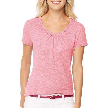 Hanes Women's Shirred S/S V-neck T-shirt, Pink