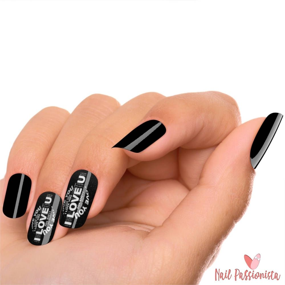 Black Nails Love You Romantic Fake Nails Kit | Acrylic Press on ...