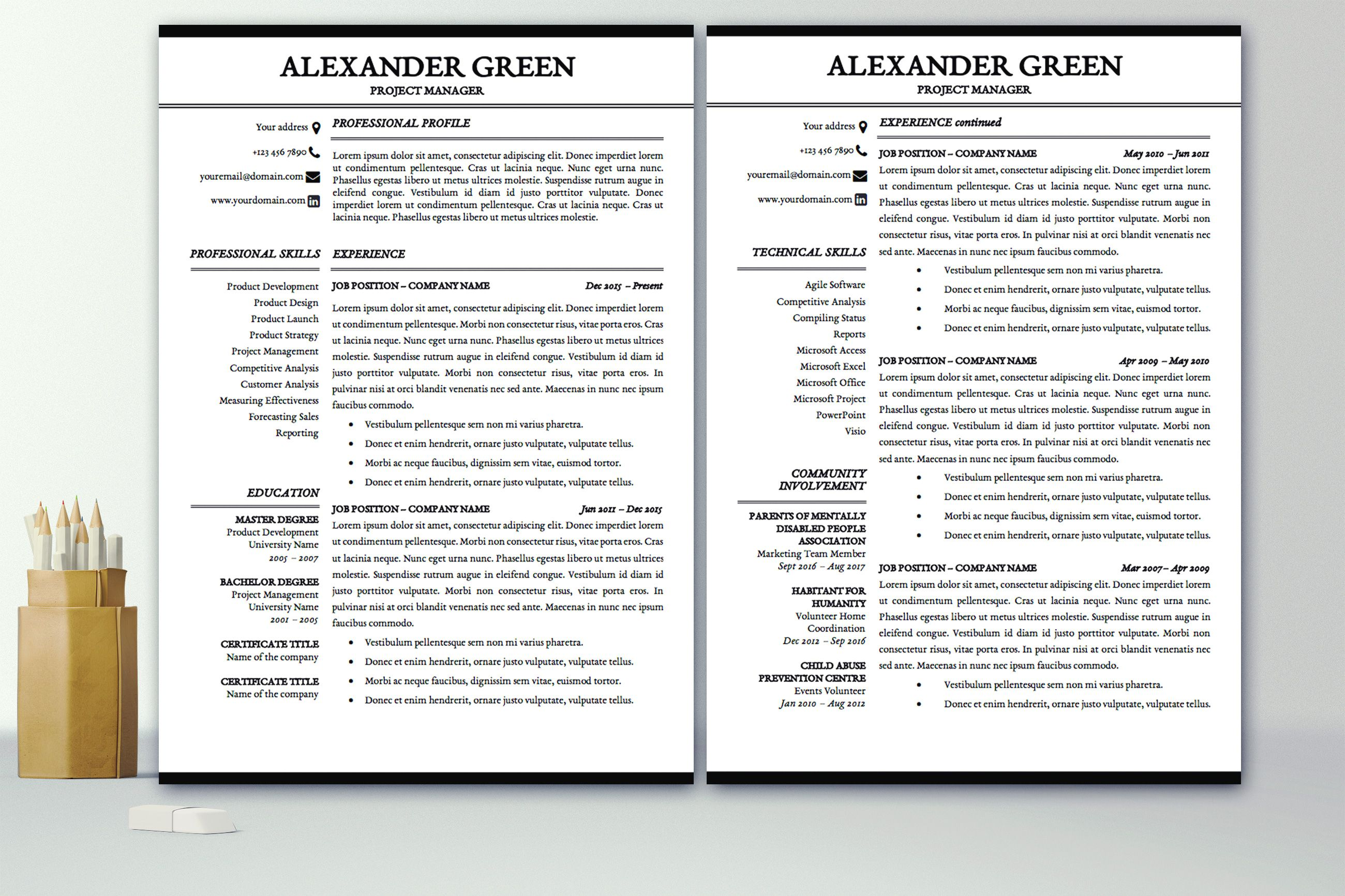 Resume Template Cover Letter Professional Resume Template Instant Download  1 & 2 Pages Cv
