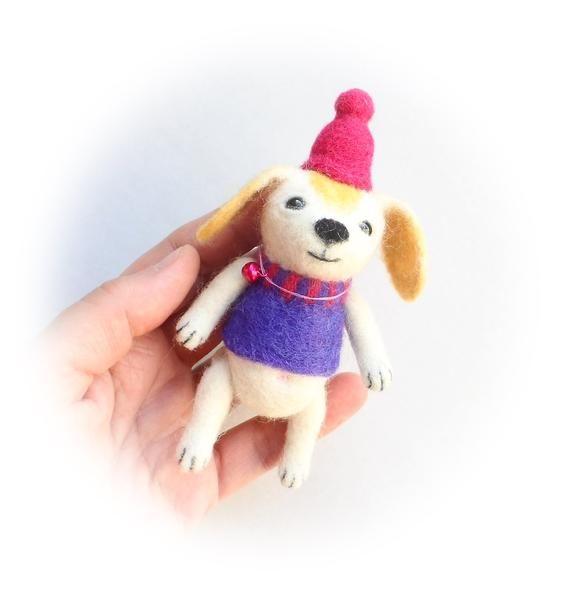 Needle Felted Funny Dog Cute Puppy Wool Felt Dog Little Toy Dog