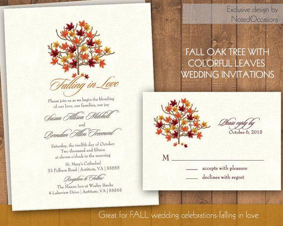 Fall Wedding Invitations Autumn Wedding Invite and RSVP Leaves – Diy Fall Wedding Invitations