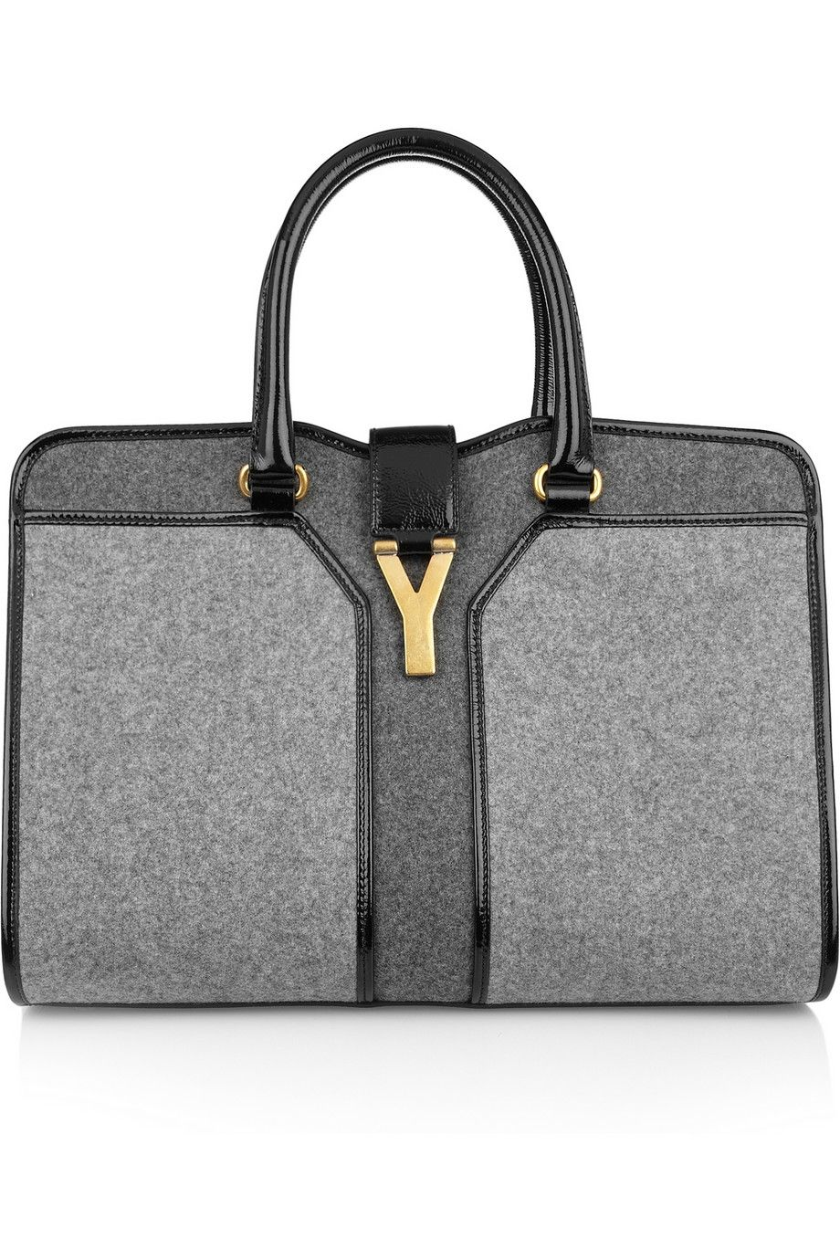 87e61c67a069 Yves Saint Laurent Cabas Chyc Medium wool-felt and patent-leather tote 2013